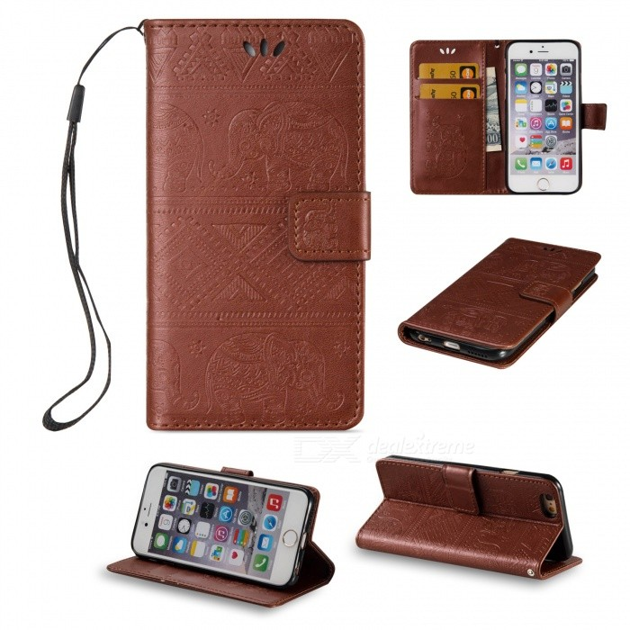 BLCR Elephant Pattern PU + TPU Wallet Case for IPHONE 6 / 6S - BrownLeather Cases<br>Form  ColorBrownQuantity1 DX.PCM.Model.AttributeModel.UnitMaterialPU + TPUCompatible ModelsIPHONE 6S,IPHONE 6StyleFlip OpenDesignWith Stand,Card Slot,With StrapPacking List1 x Case<br>