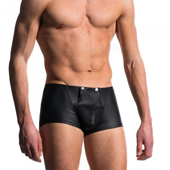 Men's Sexy Leather U-convex Buckle Design Fun Underwear - Black (XXL)
