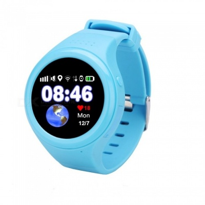 "1.22"" Touch Screen GPS Tracking Watch Phone, SOS Watch - Black + Blue"