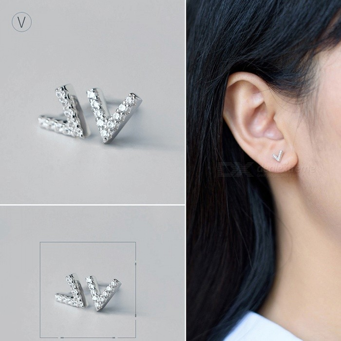 Buy Creative Spelling English Alphabet V Stud Earring for Women - Silver with Litecoins with Free Shipping on Gipsybee.com