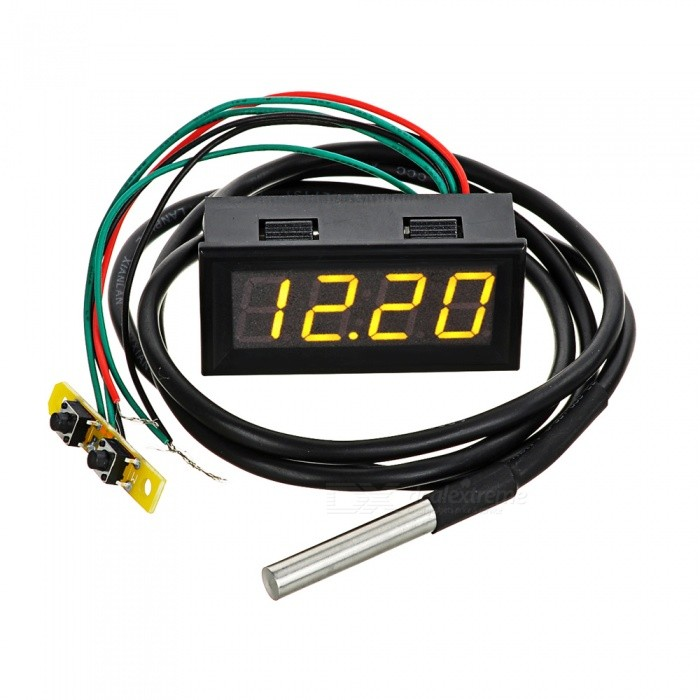 Eastor Car Time / Voltage / Temperature Meter w/ 2 Yellow LED DisplayVoltmeter or Thermometers or Hygrometers<br>Form  ColorYellow LightModelN/AQuantity1 DX.PCM.Model.AttributeModel.UnitMaterialABSFunctionTemperature display,clock,voltage displayScreen Size2 DX.PCM.Model.AttributeModel.UnitDisplay ColorYellowClock Display Format24 hoursAlarm ClockNoTemperature Range-50~125 DX.PCM.Model.AttributeModel.UnitPower Supply7~30VCable Length100 DX.PCM.Model.AttributeModel.UnitPacking List1 x Car digital meter (cable 100cm)<br>