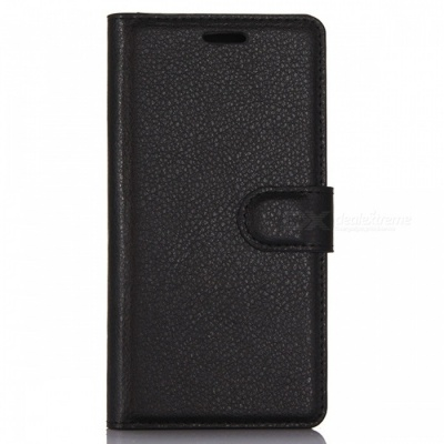 Protective PU Wallet Case w/ Card Slots for Huawei P10 - Black