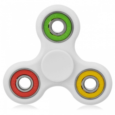 BLCR Tri-Spinner Fidget Toy Hand Spinner for ADHD - White + Multicolor