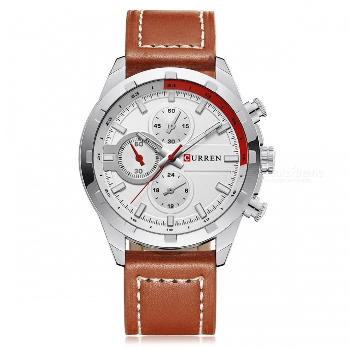 CURREN 8216 Fashion Mens Alloy Case Wrist Watch - White + BrownQuartz Watches<br>Form  ColorWhite + Brown + Multi-ColoredModel8216Quantity1 DX.PCM.Model.AttributeModel.UnitShade Of ColorBlackCasing MaterialAlloyWristband MaterialLeatherSuitable forAdultsGenderMenStyleWrist WatchTypeFashion watchesDisplayAnalogBacklightNoMovementQuartzDisplay Format12 hour formatWater ResistantFor daily wear. Suitable for everyday use. Wearable while water is being splashed but not under any pressure.Dial Diameter5 DX.PCM.Model.AttributeModel.UnitDial Thickness1 DX.PCM.Model.AttributeModel.UnitWristband Length26 DX.PCM.Model.AttributeModel.UnitBand Width2 DX.PCM.Model.AttributeModel.UnitBattery1 x 626Packing List1 x Watch<br>
