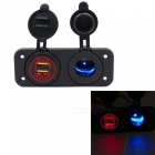 42A-Dual-USB-Red-Mobile-Phone-Car-Charger-w-Cigarette-Lighter-Black