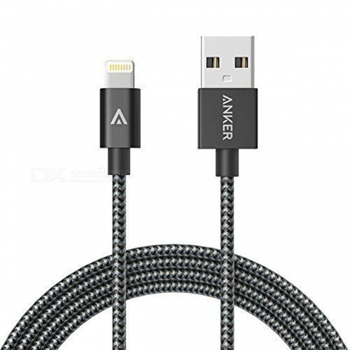 Anker 6ft Nylon Braided USB Cable w/ Lightning Connector - Space GrayCables<br>Form  ColorSpace Gray - 6ftModelA7136611Quantity1 pieceMaterialNylonCompatible ModelsOthers,for iPhone, iPad, iPodFunctionCharging,Data syncConnectorUSB,Apple 8pin LightningCable LengthOthers,180 cmCertificationMFI made for IPHONE, made for IPOD, made for IPADPacking List1 x Lightning to USB Cable<br>