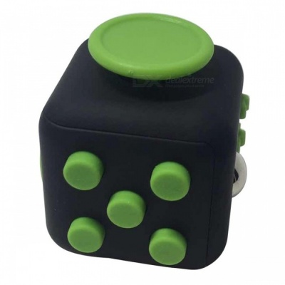 6-Sided Cube Dice Finger Toy - Black + Green