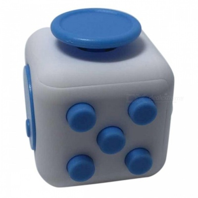 6-Sided Cube Dice Finger Toy - White + Blue