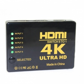 BSTUO 1080P HD 4K HDMI 5-in-1 Out HDMI Hub Switch Splitter - Black