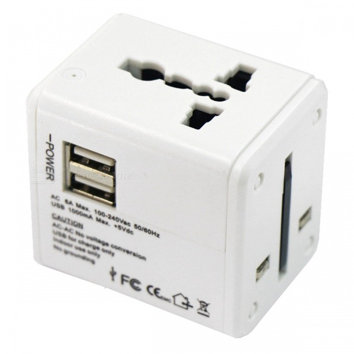 AC100-240V / 6A Travel Global Conversion Plug Adapter w/ Dual USB Port