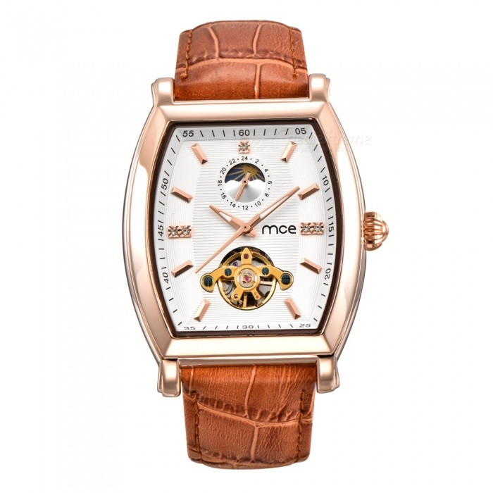 MCE Genuine Leather Strap Tourbillon Mechanical Watch