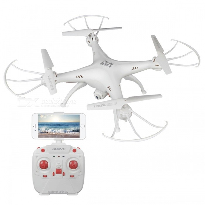 LIDIRC L15 Wi-Fi FPV Waterproof RC Quadcopter w/ 0.3MP Camera - WhiteR/C Airplanes&amp;Quadcopters<br>Form  ColorWhiteModelL15MaterialABSQuantity1 DX.PCM.Model.AttributeModel.UnitShade Of ColorWhiteGyroscopeYesChannels Quanlity4 DX.PCM.Model.AttributeModel.UnitFunctionUp,Down,Left,Right,Forward,Backward,StopRemote control frequency2.4GHzRemote TypeRadio ControlRemote Control Range100 DX.PCM.Model.AttributeModel.UnitIndoor/OutdoorOutdoorSuitable Age 12-15 years,Grown upsCameraYesCamera Pixel0.3MPLamp YesBattery Capacity550 DX.PCM.Model.AttributeModel.UnitBattery TypeLi-polymer batteryCharging Time90 DX.PCM.Model.AttributeModel.UnitWorking Time6~8 DX.PCM.Model.AttributeModel.UnitModelMode 2 (Left Throttle Hand)Remote Control TypeWirelessRemote Controller Battery TypeAARemote Controller Battery Number4 (not included)Other FeaturesWaterproof, 360 Flips, One Key Return, Headless ModePacking List1 x L15 RC quadcopter1 x Remote controller1 x Charging cable (60+/-2cm)1 x Phone holder4 x Spare main blades1 x Screwdriver1 x Chinese / English user manual<br>