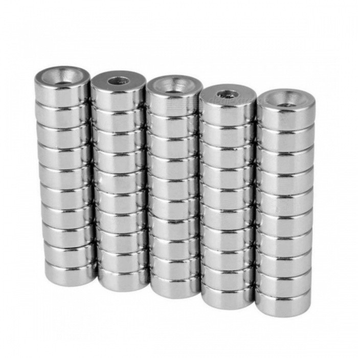 JEDX 15*4-4mm Round NdFeB Magnet Cubes w/ Round Hole - Silver