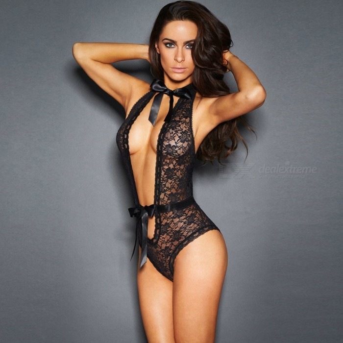 db06f0673 ... Sexy Lace Deep V Perspective Lacquered Lacquered Lingerie - Black ...