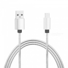 Stainless Steel Spring Micro USB Fast Charging Data Cable -Silver (1m)
