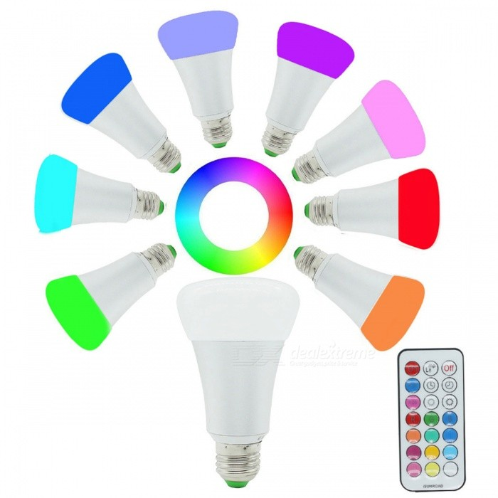JRLED E27 10W RGB + Warm White LED Bulb Light w/ Remote Controller