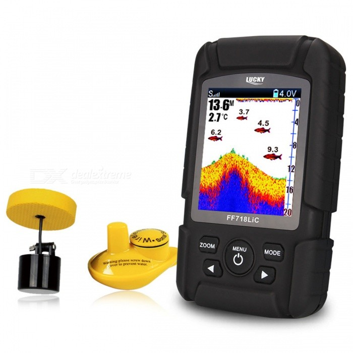 "LUCKY FF718LiC 2.8"" LCD Fish Finder Monitor Sonar Transducer - Black"