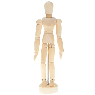 """Wooden 14-Joint Moveable Manikin Model with Display Base (5.5"""")"""