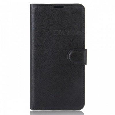Protective PU Leather Case Cover w/ Card Slots for Leagoo M8 - Black