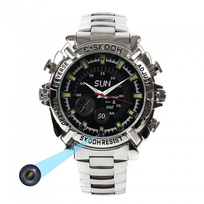 Buy 16GB HD 1080P Waterproof Watch Infrared Video Hidden Camera - Silver with Litecoins with Free Shipping on Gipsybee.com