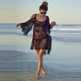 Polyester-Sexy-Harness-Sunscreen-Beach-Ladies-Dress-Blouse