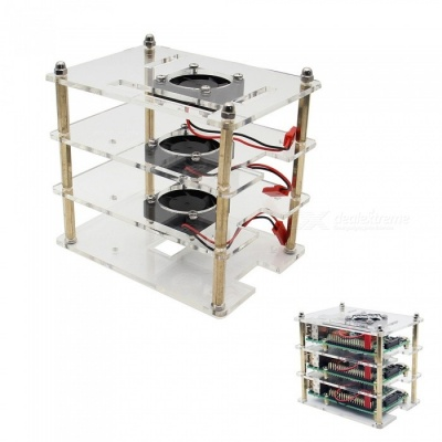 Geekworm 3 Layers Acrylic Shell +3 Pieces Cooling Fan for Raspberry Pi