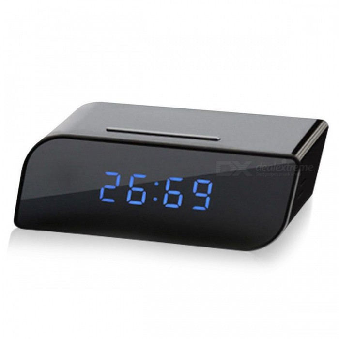 Buy 720P HD Wireless Wi-Fi Clock Security DVR IP Camera - Black (EU Plug) with Litecoins with Free Shipping on Gipsybee.com