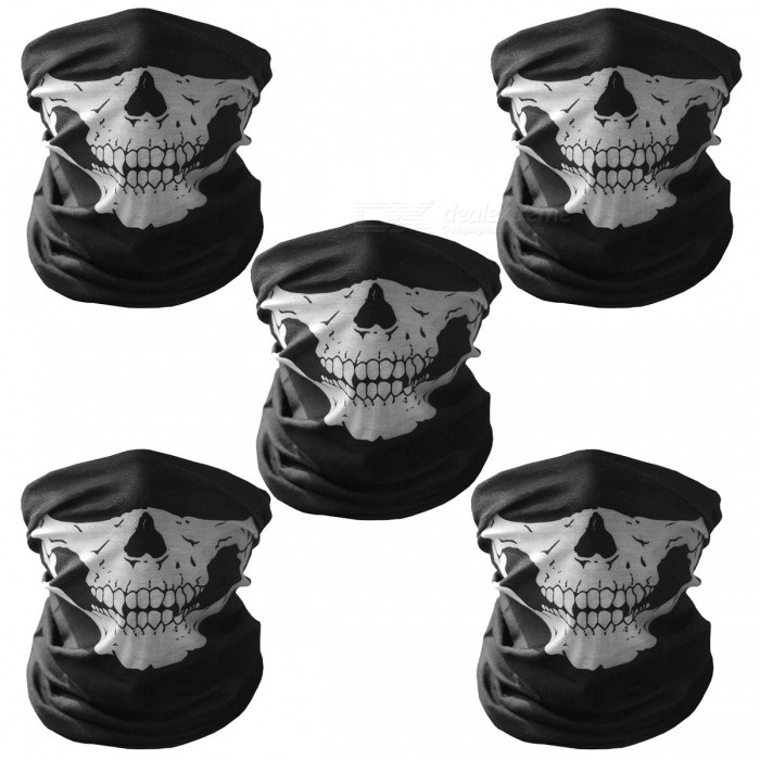 Unisex Skull Pattern Seamless Outdoor Cycling Face Masks -Black (5PCS)Form  ColorBlack (5 Pcs)SizeFree SizeQuantity5 DX.PCM.Model.AttributeModel.UnitMaterialPolyesterGenderOthers,Unisex, kidsSeasonsFour SeasonsShoulder WidthN/A DX.PCM.Model.AttributeModel.UnitChest GirthN/A DX.PCM.Model.AttributeModel.UnitSleeve LengthN/A DX.PCM.Model.AttributeModel.UnitWaistN/A DX.PCM.Model.AttributeModel.UnitTotal Length49 DX.PCM.Model.AttributeModel.UnitSuitable for HeightN/A DX.PCM.Model.AttributeModel.UnitBest UseCycling,Others,Running, motorbike, snowboarding, cross-Country, Downhill, cycling / bike, leisure sports, skating, camping &amp; hikingTypeFace MasksPacking List5 x Face masks<br>