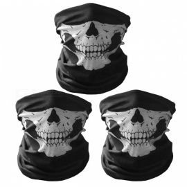 Unisex Skull Pattern Seamless Outdoor Cycling Face Masks-black