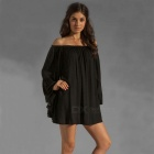 Sexig långärmad Loose Chiffong One Piece Dress - Black (L)