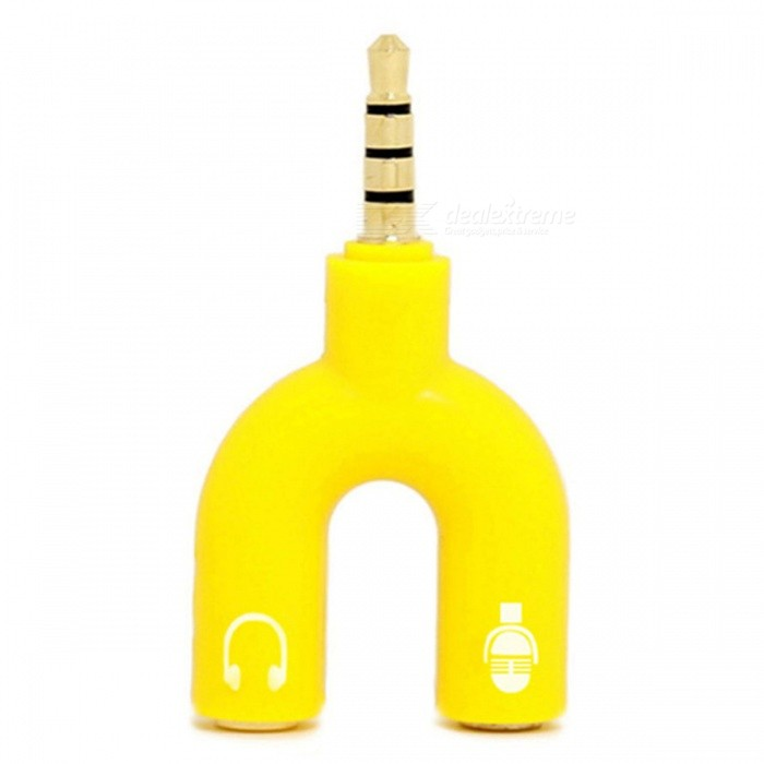 Buy KICCY 3.5mm Male to 2 Female U Shape Earphone Splitter Adapter -Yellow with Litecoins with Free Shipping on Gipsybee.com