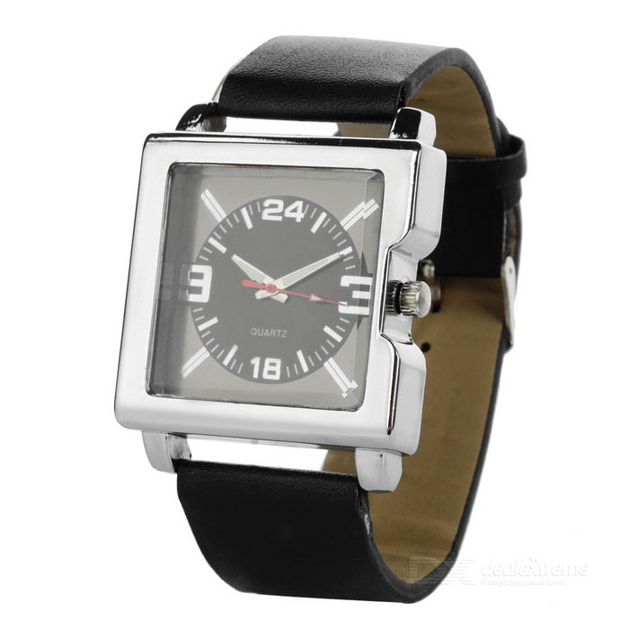 Buy Stylish Leather Band Wrist Watch - Black (1*377) with Litecoins with Free Shipping on Gipsybee.com
