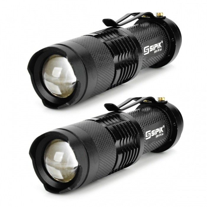 SIPIK SK68 120lm Convex Lens LED Zooming Flashlights w/ Q3-WC - Black for sale for the best price on Gipsybee.com.