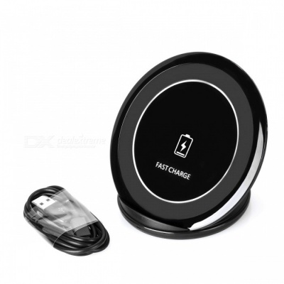 Qi Standard Fast Charging Charger + USB Charging Cable - Black
