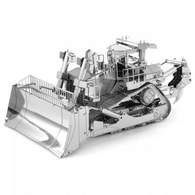 DIY Jigsaw Puzzle 3D Metal Bulldozer Assembly Model Toy - Silver