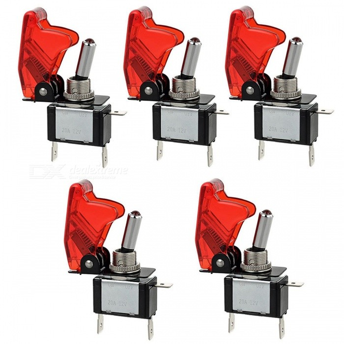 High Quality E Support Car Red LED Toggle Switches - Red (5 PCS)Switches &amp; Adapters<br>Form  ColorRedQuantity5 DX.PCM.Model.AttributeModel.UnitMaterialIron, plasticPower Range12VMax. Current10AWorking Temperature-25~+85 DX.PCM.Model.AttributeModel.UnitPacking List5 x LED Switches<br>