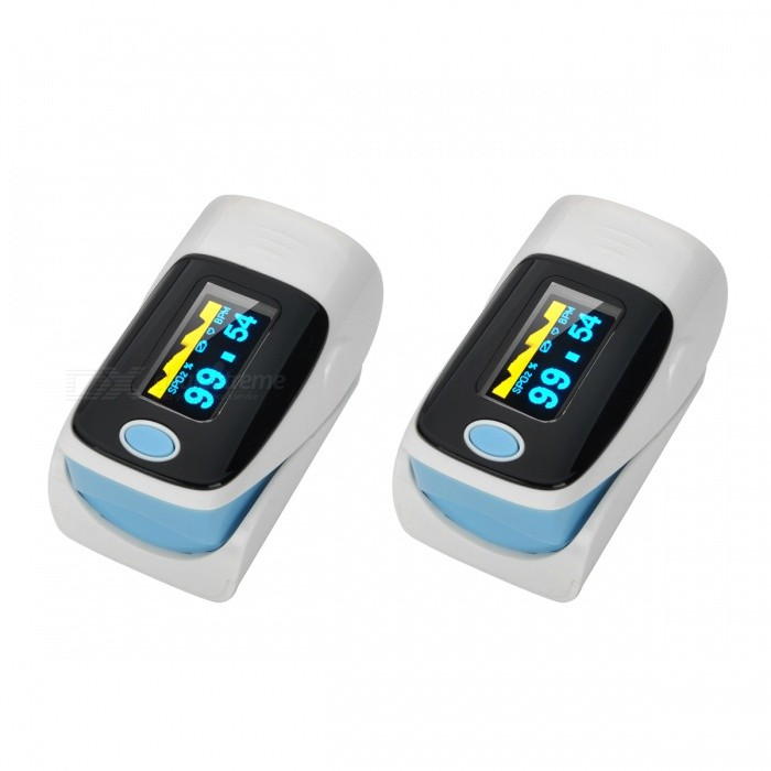 1.1 OLED SPO2 Fingertip Pulse Oximeters - White + Blue (2 PCS)Heart Rate Monitor<br>Form  ColorWhite + Blue + Multi-Colored (2 PCS)Shade Of ColorMulti-colorMaterialPVCQuantity2 DX.PCM.Model.AttributeModel.UnitDisplay1.1 inch OLEDTarget PositionFingerBattery Number2Power SupplyAAABattery included or notNoPower AdapterBatteryPacking List2 x Oximeters1 x Strap1 x English user manual<br>