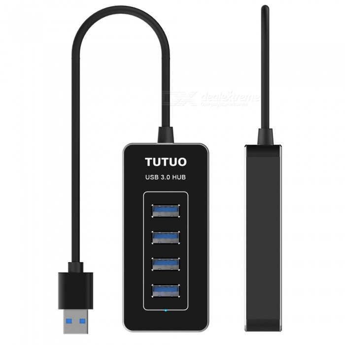 TUTUO HUB-021 5Gbps Speed 4 Ports USB 3.0 Hub Splitter - BlackUSB Hubs &amp; Switches<br>Form  ColorBlackModelHUB-021Quantity1 DX.PCM.Model.AttributeModel.UnitMaterialAluminum AlloyPort Number4Spacing1cmCurrent Output5V,900mAhTransmission Rate5 DX.PCM.Model.AttributeModel.UnitCertificationCE, RoHs, FCCPacking List1 x 4 Ports USB Hub (Cable Length 25cm)1 x English&amp;Janpanese User Manual<br>