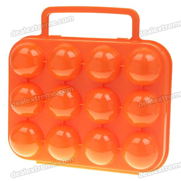 Portable Folding Durable Plastic 12-Egg Carrying Case - Orange