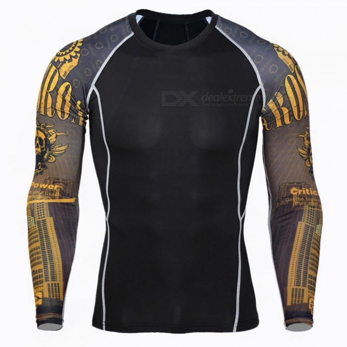 Buy 3D Print Quick Dry Long Sleeve Men's T-Shirt - Black + Yellow (XXL) with Litecoins with Free Shipping on Gipsybee.com