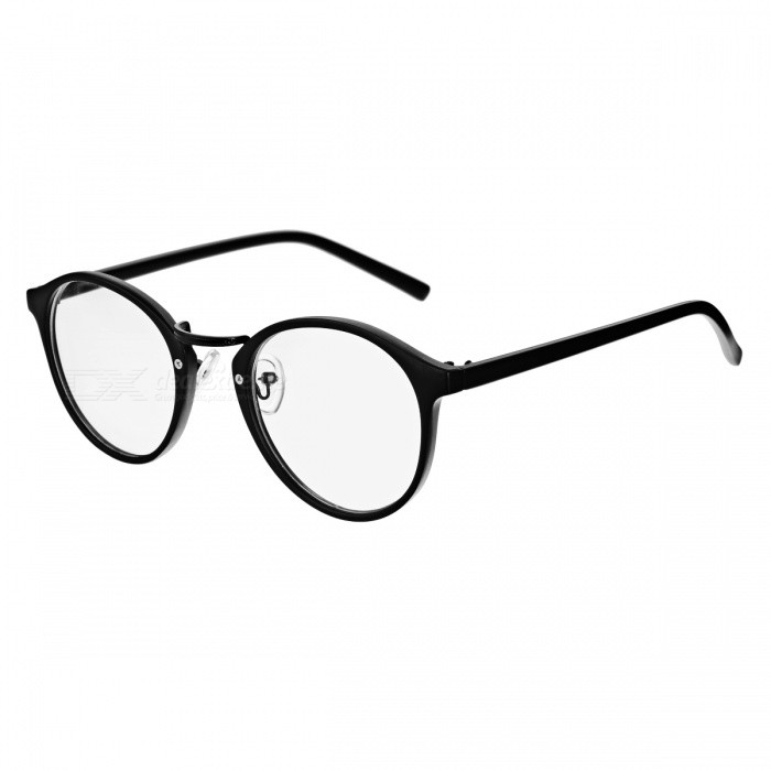 Buy Simple Plastic Round Frame Plain Mirror Eyeglasses - Black with Litecoins with Free Shipping on Gipsybee.com
