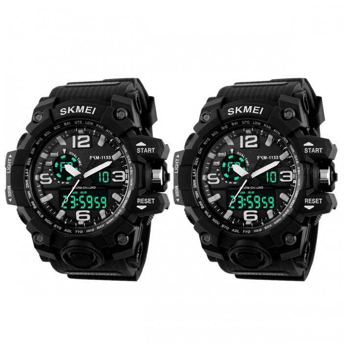 SKMEI 1155 50M Waterproof Multifunction Sport Watch - Black (2 PCS) for sale for the best price on Gipsybee.com.