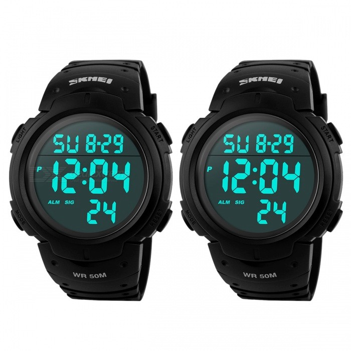 SKMEI 50m Waterproof Men's Sports Watches - Black (2 PCS / 1 x CR2025)