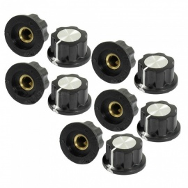 A02 Top Rotary Knobs for 6mm Dia. Shaft Potentiometer (10 PCS)
