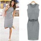 Cotton-Thin-Waist-Sleeves-Sleeveless-Dress-Gray-(M)