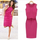 Fashion-Womens-Thin-Waist-Tight-Sleeveless-Dress-Deep-Pink-(XL)