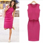 Fashion-Womens-Thin-Waist-Tight-Sleeveless-Dress-Deep-Pink-(L)
