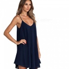 Loose Low-lying halter Strap Mujeres vestido - Deep Blue (L)