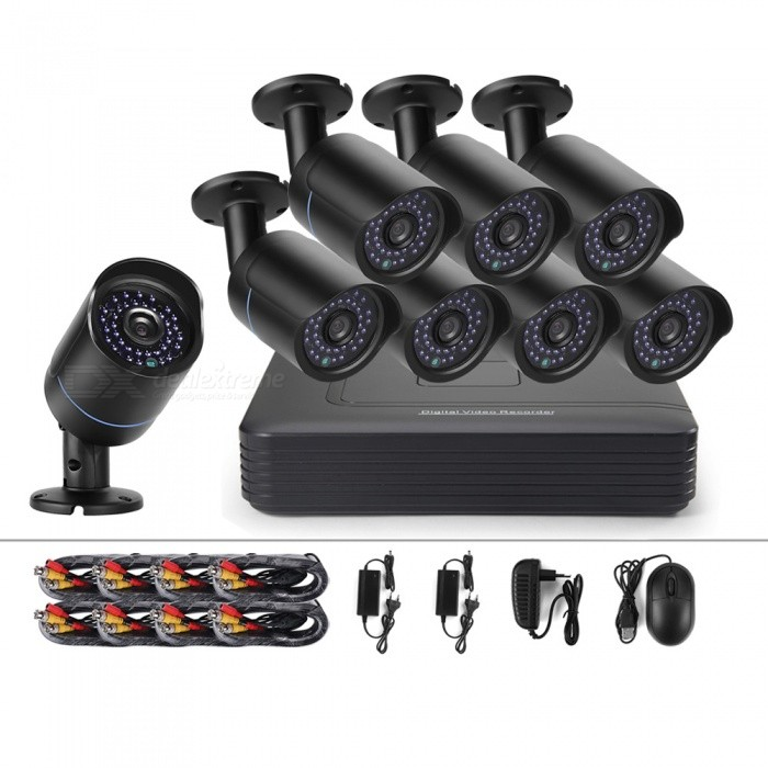 Cotier New 1080P 8CH Utomhus CCTV Security System Analog Kamera Kit