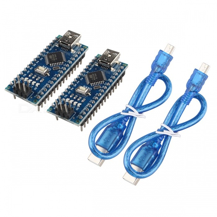 Hengjiaan 2PCS Nano V3.0 Atmel Atmega328P Mini USB Micro ControllerBoards &amp; Shields<br>Form  ColorDark Blue + Black + Multi-ColoredModelN/AQuantity1 setMaterialPCBDownload Link   NoPacking List2 x Nano V3.0 Boards2 x USB Cables (30cm)<br>